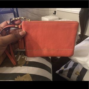 Barely used, Peachy colored coach funky wallet